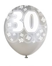 30th Birthday Black Glitz Latex Balloons 12 inch